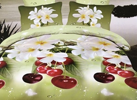 Ericdress Fresh Strawberry And Flower Print 3D Bedding Sets