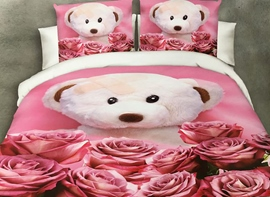 Ericdress Rose And Toy Bear Print 3D Bedding Sets