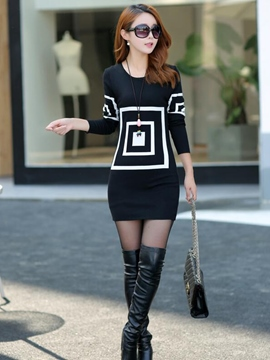 Ericdress Color Block Round Neck Sweater Dress