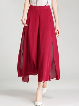 Ericdress Solid Color Split Wide Legs Pants