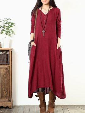 Ericdress Autumn Long Sleeve Solid Color Maxi Dress