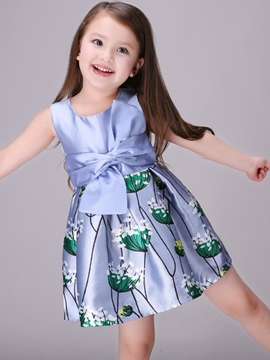 Ericdress Floral Printed Belt-Tied Pleated Girls Dresses
