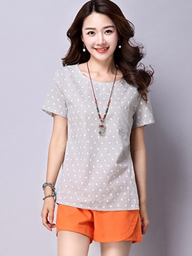 Ericdress Casual Polka Dots Simple T-Shirt