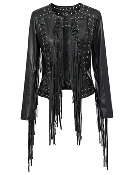 Ericdress Solid Color Lace-Up Tassel Jacket