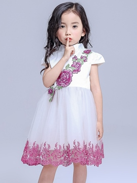 Ericdress Stand Collar Appliques Lace-trim Girls Dresses