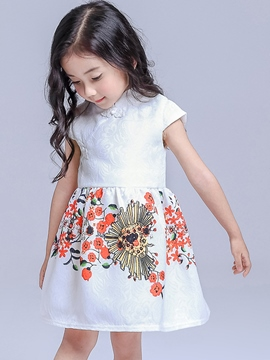 Ericdress Frog Print Stand Collar Pleated Girls Dresses