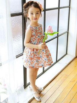 Ericdress Backless Floral A-Line Girls Dress