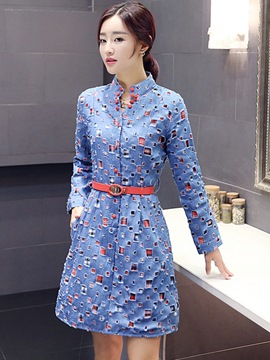 Ericdress Autumn Denim Long Sleeve Casual Dress