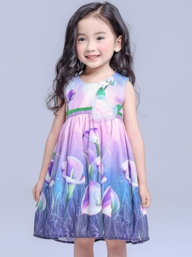 Ericdress Colored Printing Appliques Tie Girls Dress