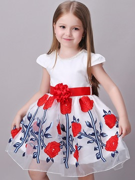 Ericdress A-Line Appliques Pleated Girls Dresses