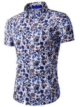 Ericdress Floral Vogue Casual Short Sleeve Men's Shirt