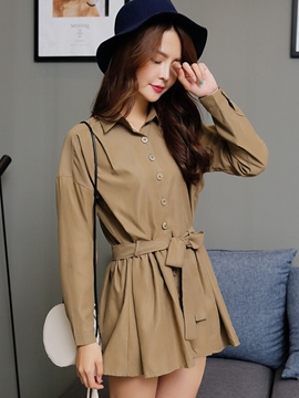 Ericdress Single-Breasted Slim Lace-Up Trench Coat