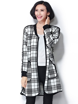 Ericdress Slim Plaid Wrapped Coat