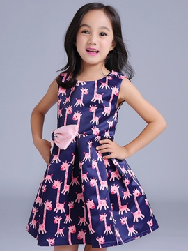 Ericdress Fawn Printed Bow Sleeveless Girls Dresses