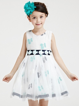 Ericdress Mesh Appliques Belt-Tied Girls Dresses