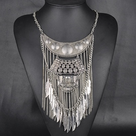 Ericdress Alloy Leaves Tassel Necklace