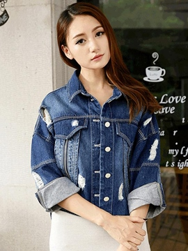 Ericdress Loose Ripped Casual Denim Outerwear