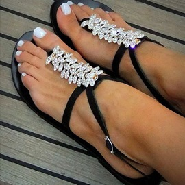 Ericdress Chic Rhinestone Thong Flat Sandals