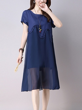 Ericdress Solid Color Patchwork Short Sleeve A-Line Casual Dress
