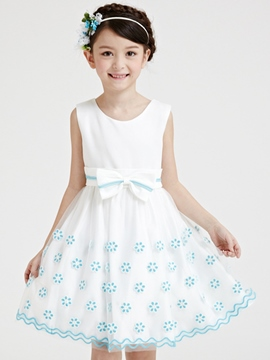 Ericdress Embroidery Mesh Lace-Trim Bow Belt-Tied Girls Dresses