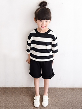 Ericdress Stripe Girls Pants Outfit