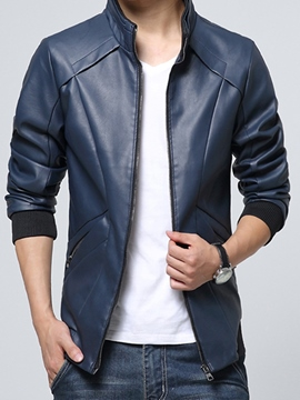 Ericdress Vogue Design Zip PU Men's Jacket