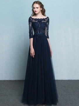 Ericdress 3/4 Length Sleeves Appliques Beading Lace Floor-Length Evening Dress