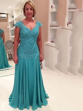 Ericdress Beautiful Appliques V Neck A Line Long Mother Of The Bride Dress