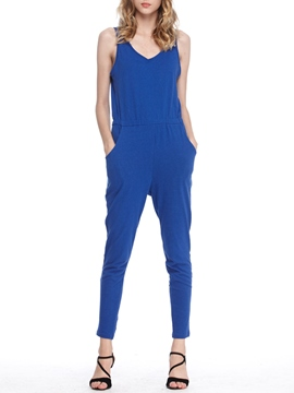 Ericdress Simple Spaghetti Straps Jumpsuits Pants