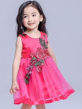 Ericdress Embroidery Patchwork Belt Girls Dress