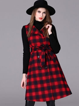 Ericdress Plaid Lace-up Coat