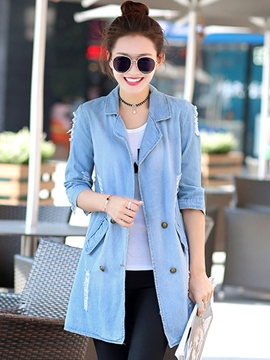 Ericdress Slim Pocket Ripped Denim Trench Coat