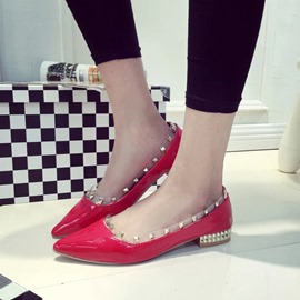 Ericdress Rivets Point Toe Flats
