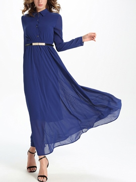 Ericdress Solid Color Long Sleeve Single-Breasted Maxi Dress