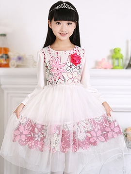 Ericdress Long Sleeve Mesh Print Girls Dress