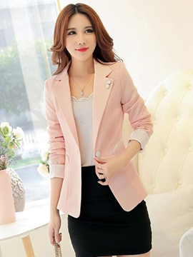 Ericdress Color Block One Button Blazer
