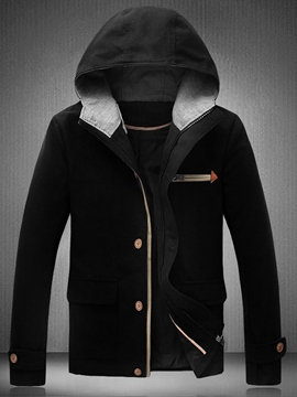 Ericdress Hood Pocket Casual Men's Jacket