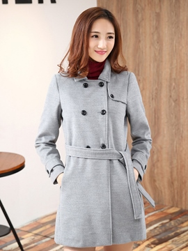 Ericdress Solid Color Lace-Up Coat