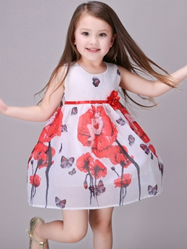 Ericdress Mesh Floral Printed Lace-Up Girls Dresses