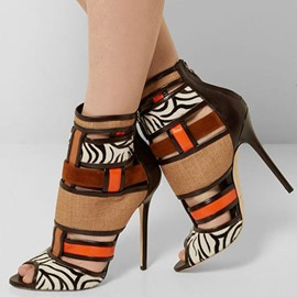 Ericdress Ethnic Patchwork Peep Toe Stiletto Sandals