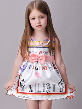 Ericdress Ball Gown Bow Tie Print Girls Dress