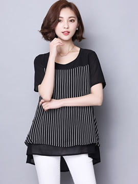 Ericdress Casual Color Block Stripped T-Shirt