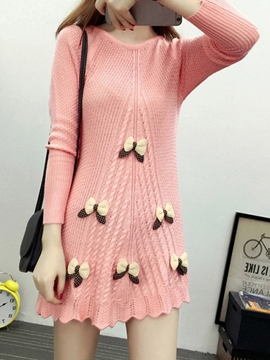 Ericdress Solid Color Bowknot Sweater Dress