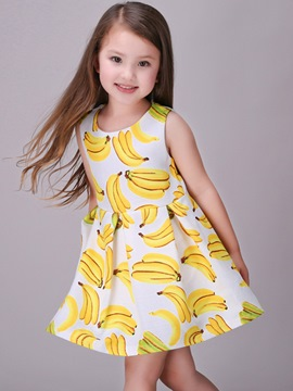 Ericdress Banana Print Sleeveless Girls Dresses