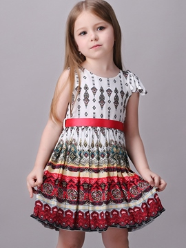 Ericdress Pop Printed Tie Pleated Girls Dresses