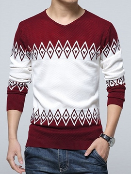 Ericdress Color Block Pattern V-Neck Vogue Men's Sweater