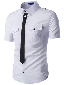 Ericdress Short Sleeve Pocket Slim Men's Shirt with Unique Tie