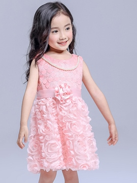 Ericdress Patchwork Floral Pleated Girls Dresses