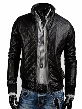 Ericdress Slim Stand Collar PU Men's Jacket