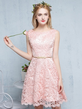 Ericdress a-line Scoop Mini Homecoming Spitzenkleid